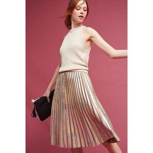 NWT Anthropologie Pleated Metallic Skirt